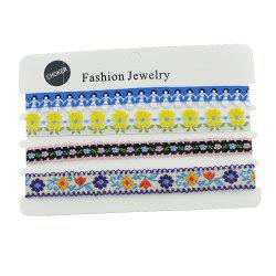 Colorful Flower Embroidery Figure Pattern Choker Necklace -