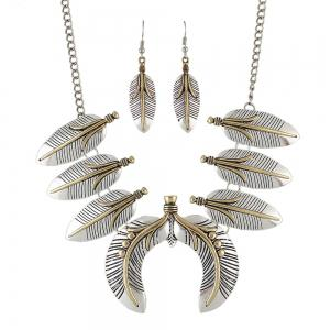 Geometric Feather Collar Necklace and Drop Earrings -