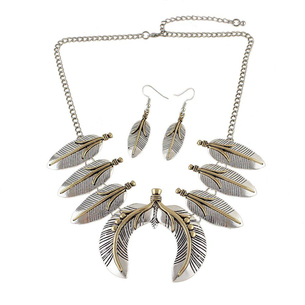 Fashion Geometric Feather Collar Necklace and Drop Earrings
