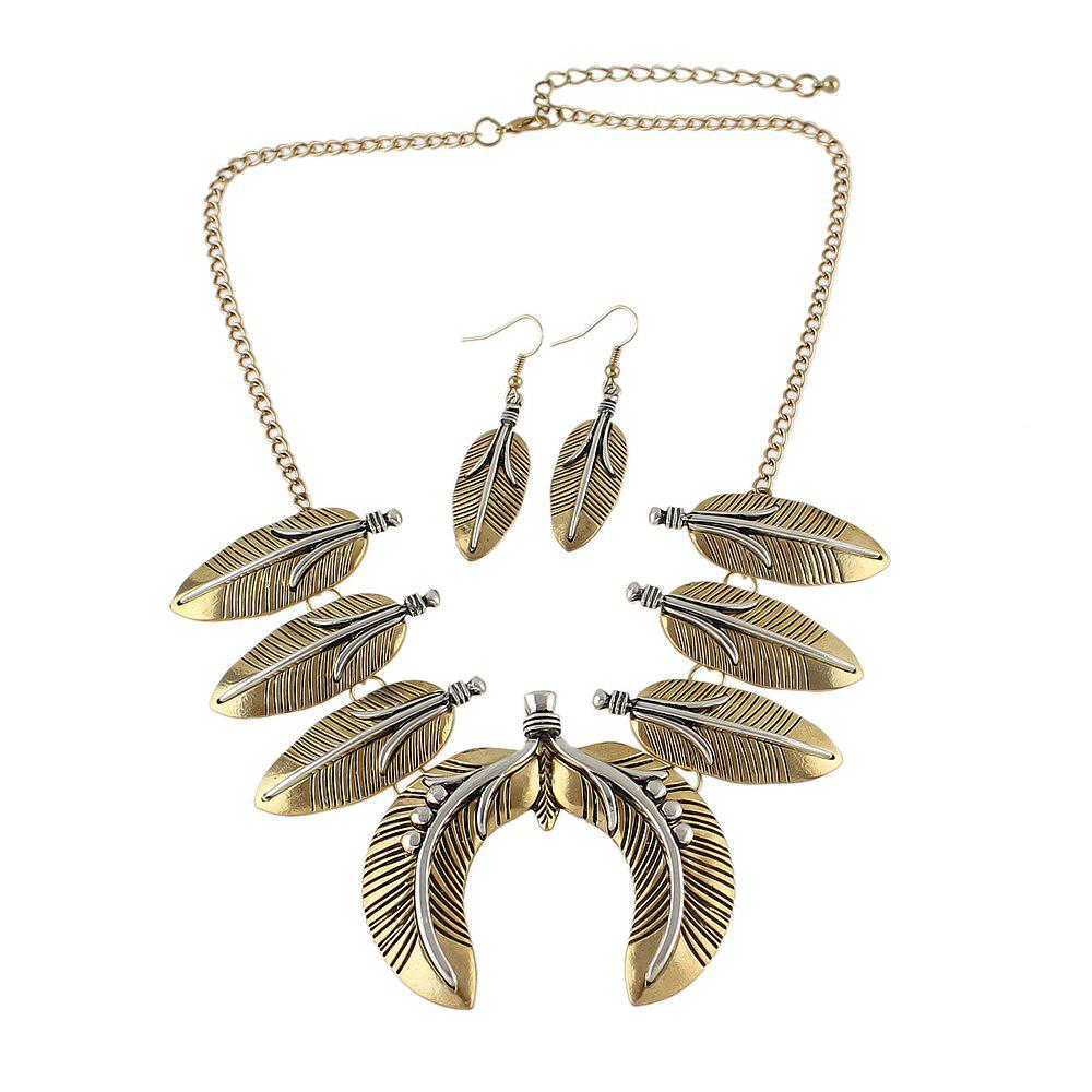 Fancy Geometric Feather Collar Necklace and Drop Earrings