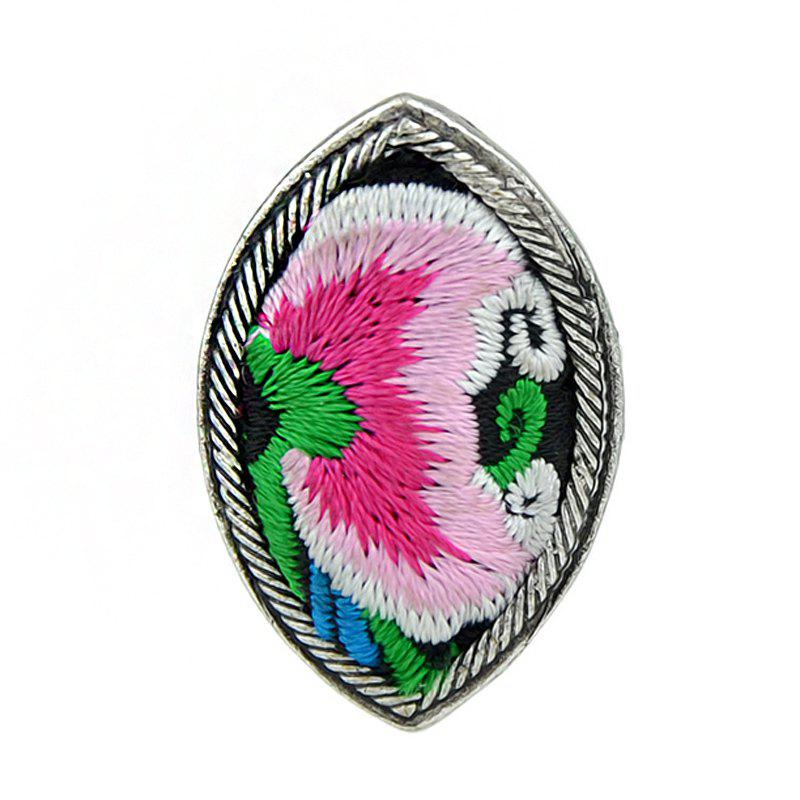 Online Handmade Flower Pattern Colorful Embroidery Geometric Rings