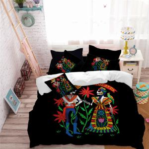 AS114-B Indian Style Men's and Women's Skeleton Pattern Personality Bedding Set -