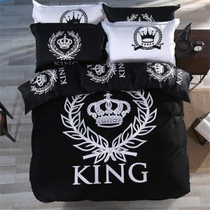 Nordic Simple Style Cotton Kit Black and White Bedding Set -