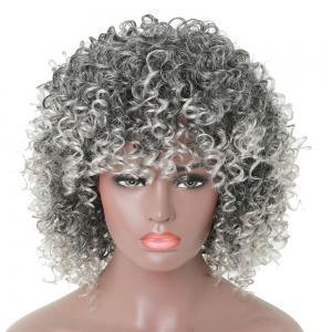 Women Silver Gray Afro Curly Style Short Hair Synthetic Wig for Party 5 Colors -