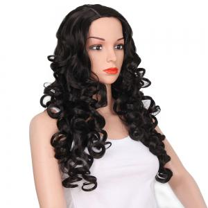 African American Women Black Curly Long Synthetic Hair Party Wig Side Parting -