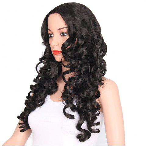 Hot African American Women Black Curly Long Synthetic Hair Party Wig Side Parting