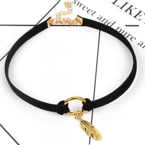 Geometric Circle of Korean Cashmere Feather Choker Double Necklace -