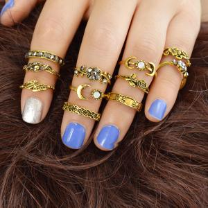 11 Pcs Flower Leaf Knuckle Rings For Women -