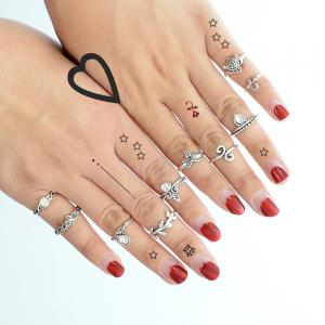 10 Pcs Tortue Starfish Feuille Fleur Knuckle Rings -