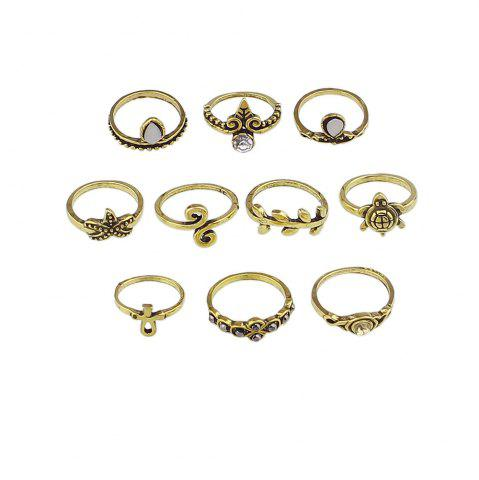 10 Pcs Tortue Starfish Feuille Fleur Knuckle Rings