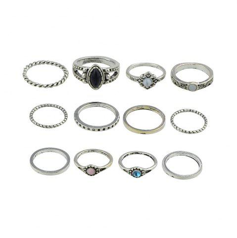 Affordable 12 Pcs Bohemia Black Sapphire Turquoise Knuckle Rings
