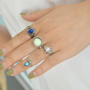 4 Pcs Knuckle Ring for Women Blue Stone White Opal -