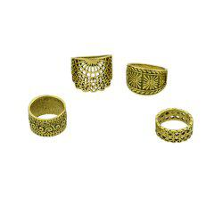 4 Pcs Hollow Out Knuckle Ring Set For Women -