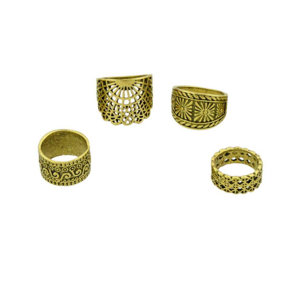 Trendy 4 Pcs Hollow Out Knuckle Ring Set For Women