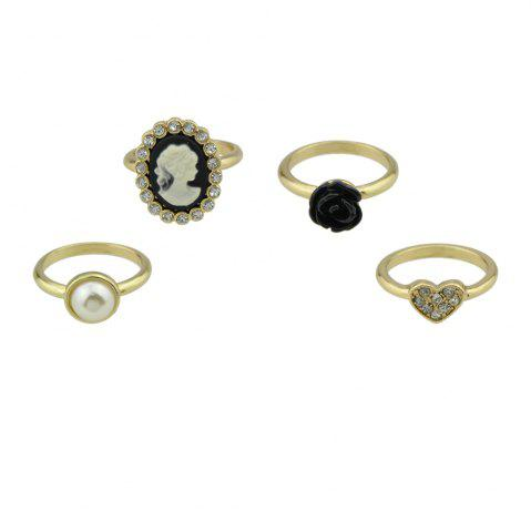 Online 4 Pcs Rhinestone Black Flower Cameo Finger Ring