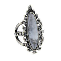 Antique Silver Color with Rhinestone Geometric Ring -