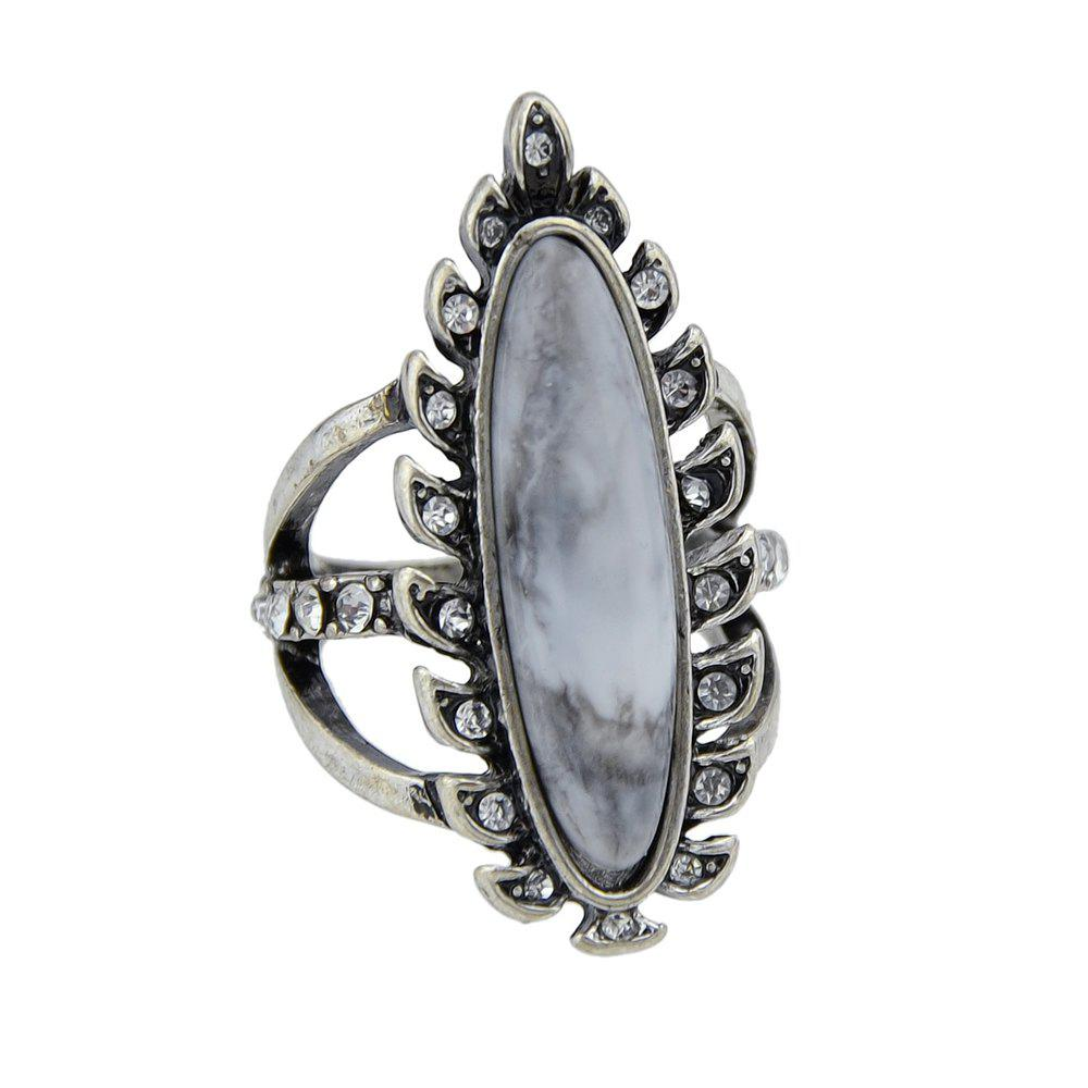 Shop Antique Silver Color with Rhinestone Geometric Ring