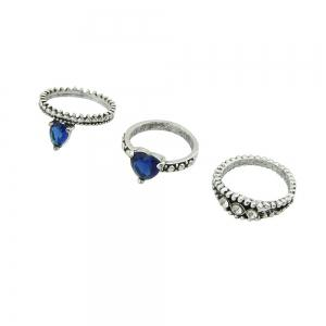 8 Pcs Silver Color with Rhinestone Blue Crystal Heart Rings -