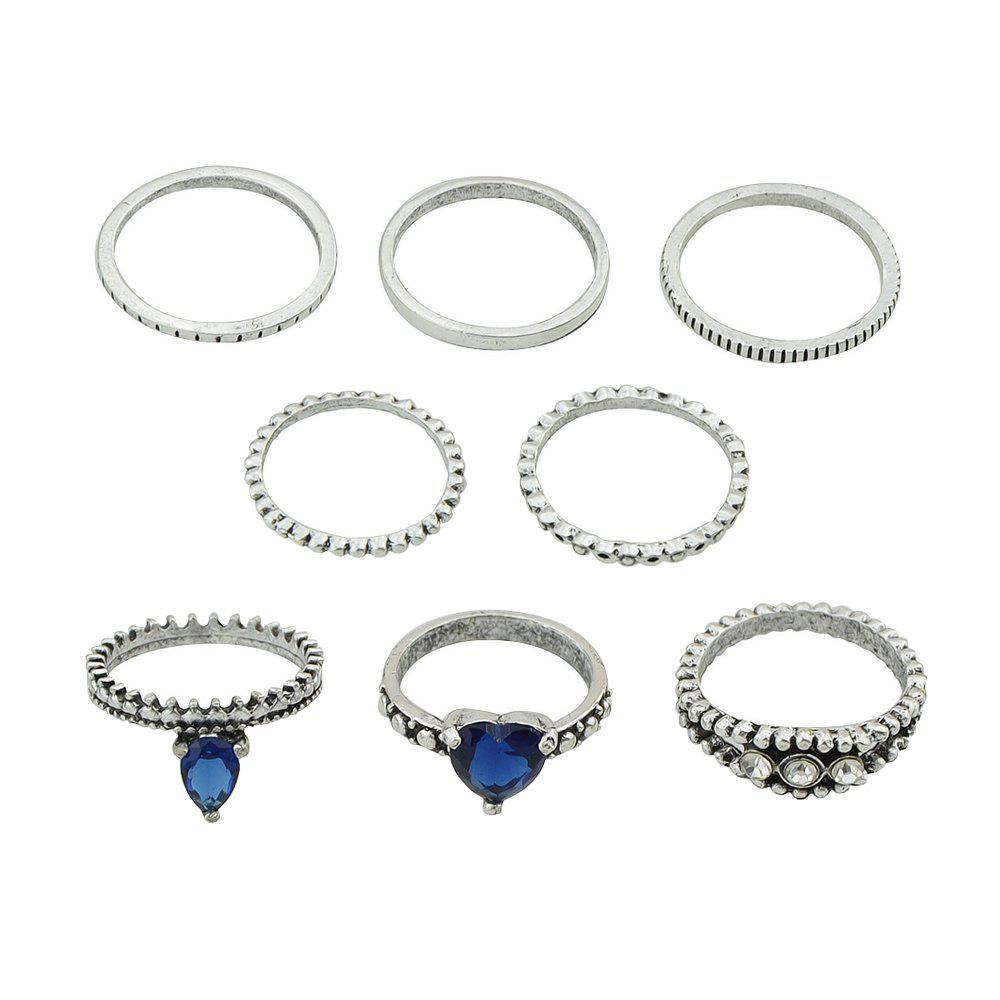 Affordable 8 Pcs Silver Color with Rhinestone Blue Crystal Heart Rings