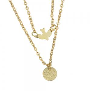 Double Layers Gold Bird Pendant Necklaces -
