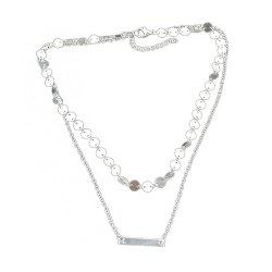 Double-layer Chain Sequins Necklace -