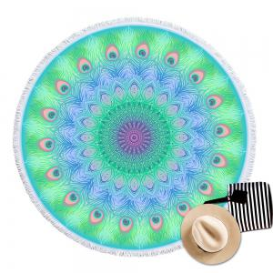 Peacock Feather Circular Beach Towel with Microfiber Tassel -