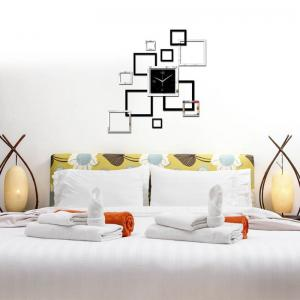 Modern Design 3D DIY Mirror Wall Clock Parlor Background Sticker Home Decor -