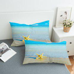 2pcs Moon and Ocean Decorative  Pillow Case -