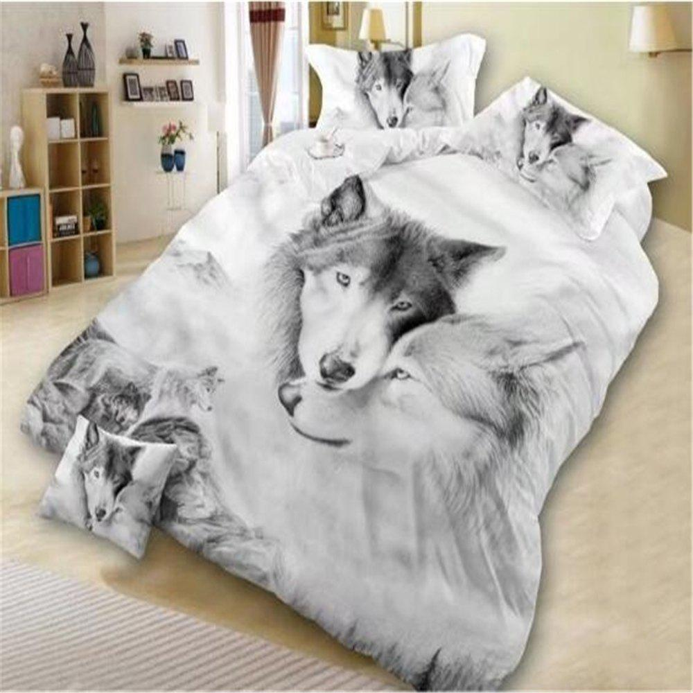 Outfits 4PCS Bed Linen Set 3D Oil Printing Wolf Bedding Set