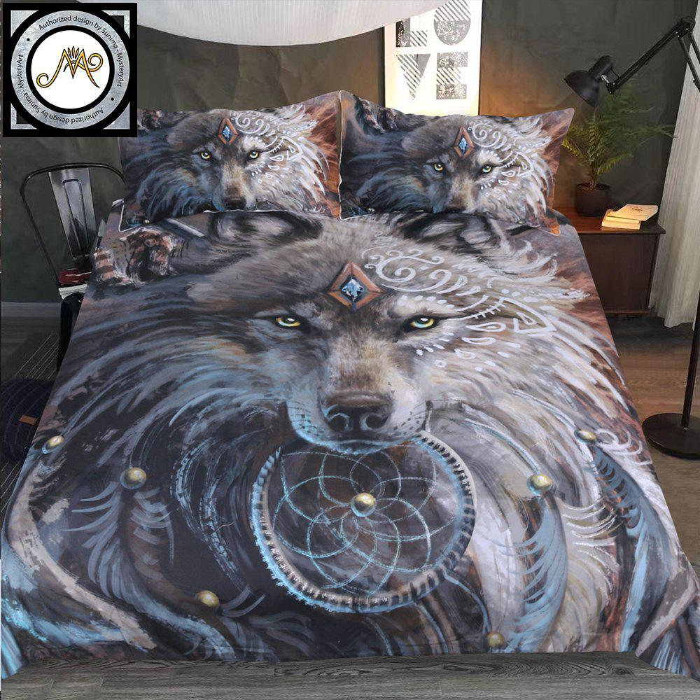Sale New 3D Printed Wolf Warrior Bedclothes 4PCS Burst
