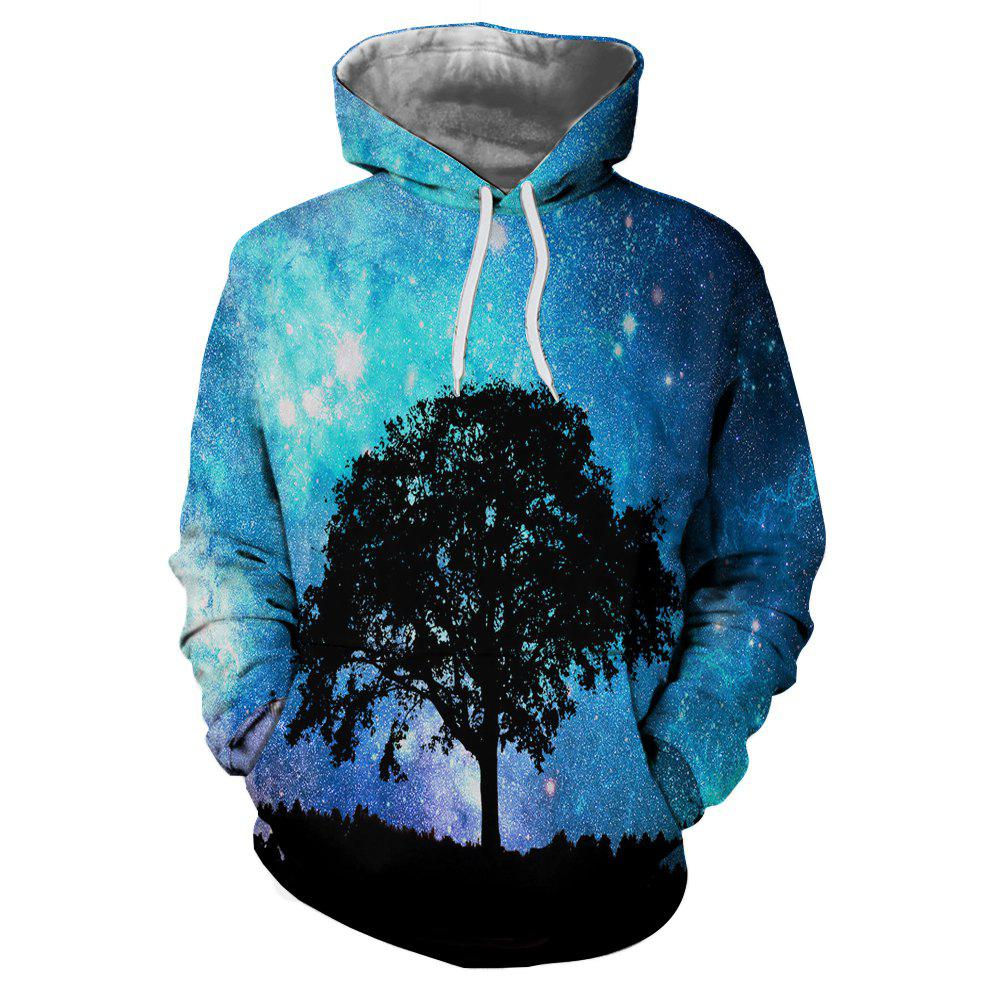 Shops 3D Landscape Print Hooded  with A Cap Pullover for Men