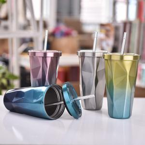 Double Stainless Steel Irregular Straw Cup 1pcs -