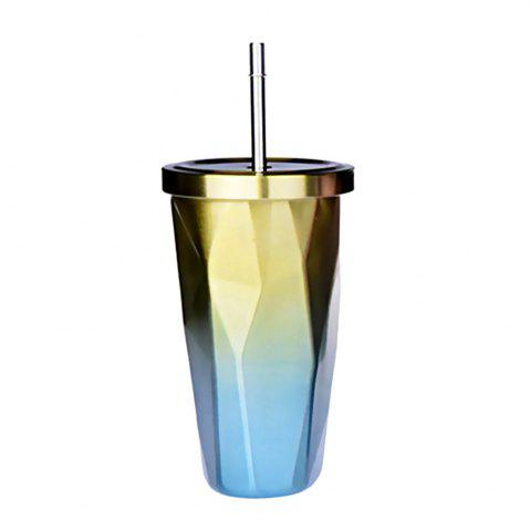 Chic Double Stainless Steel Irregular Straw Cup 1pcs