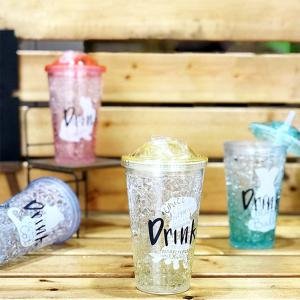 Summer Student Eco Gel Double Sippy Couple Broken Ice Plastic Cup 1pc -