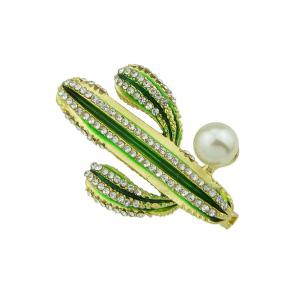Green Enamel Cactus with Rhinestone Brooches -