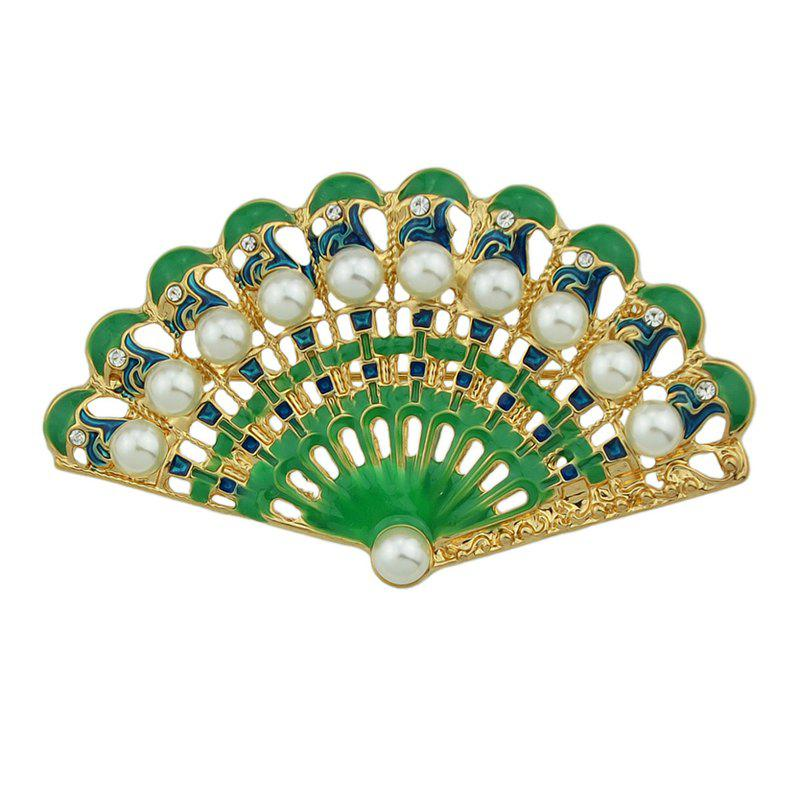 Chic Green Blue Fan-shaped with Rhinestone Brooches