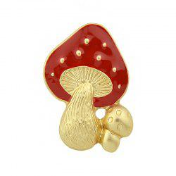 Gold-color with Red Enamel Mushroom Brooch -