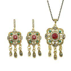 Flower Pattern Geometric Collar Long Chain Necklace Earrings -