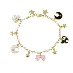 Enamel Bowknot Angel Wing Star Cat Bracelet -