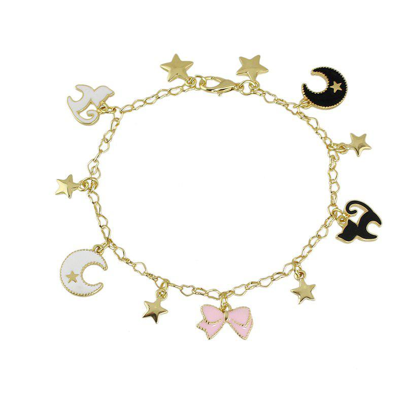 Latest Enamel Bowknot Angel Wing Star Cat Bracelet