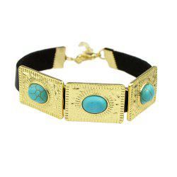 Rock Punk PU Leather with Metal Turquoise Bracelets -