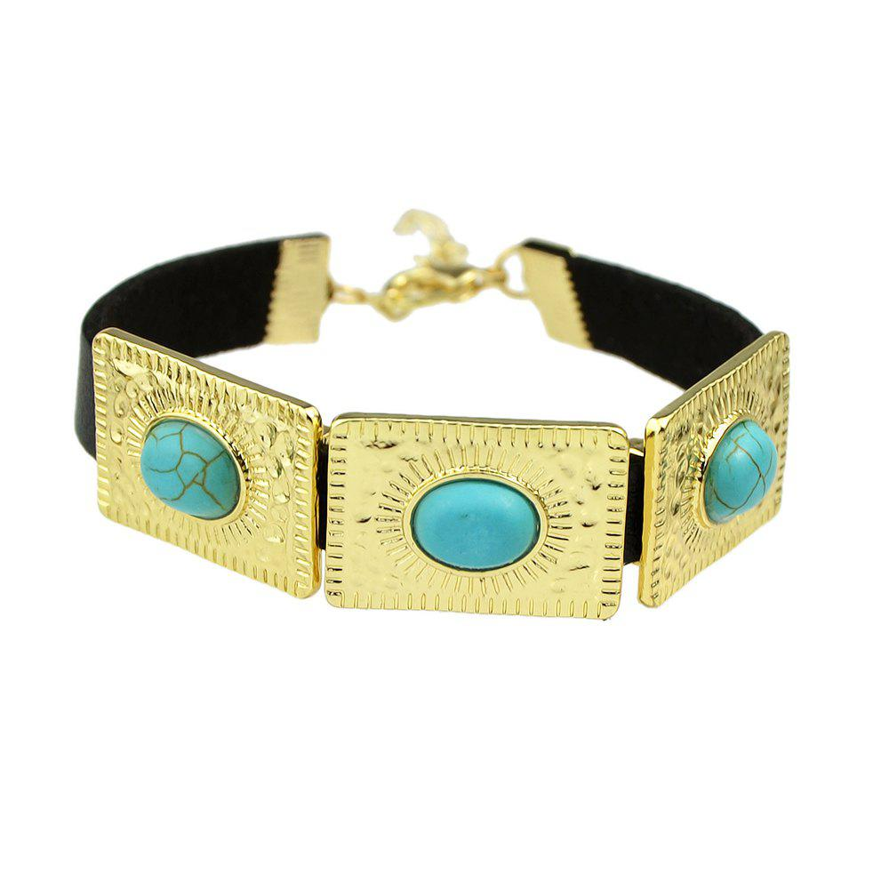 Sale Rock Punk PU Leather with Metal Turquoise Bracelets