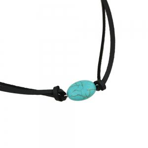 Layer Chain Necklace Black PU Leather with Turquoise -