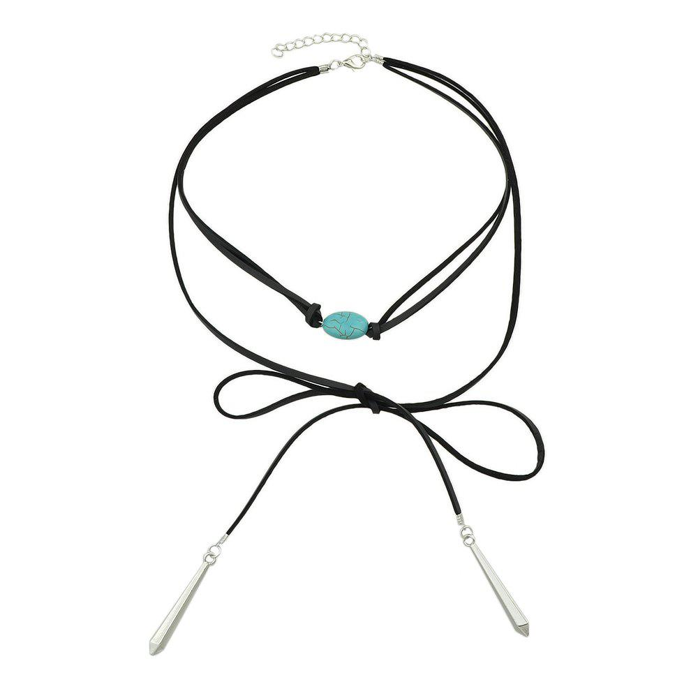 Fancy Layer Chain Necklace Black PU Leather with Turquoise