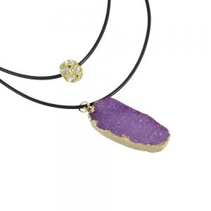 PU Leather Chain with Colorful Resin Pendant Necklace -