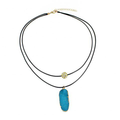 Affordable PU Leather Chain with Colorful Resin Pendant Necklace