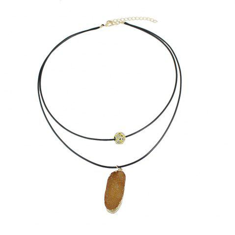 Sale PU Leather Chain with Colorful Resin Pendant Necklace