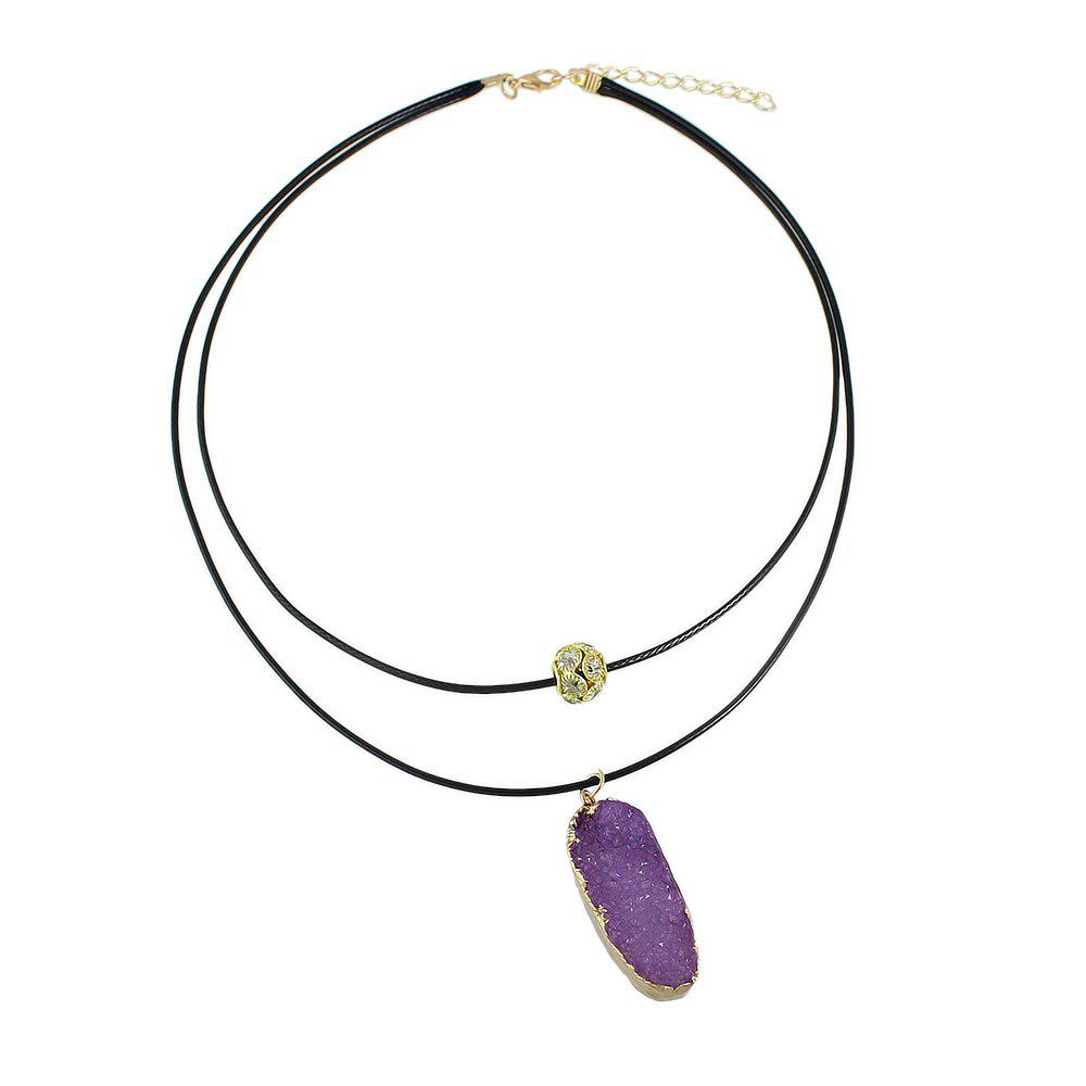 Latest PU Leather Chain with Colorful Resin Pendant Necklace