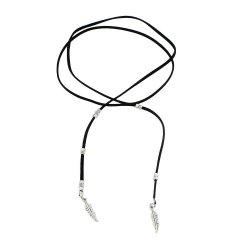 Black Rope Feather Shape with Choker Necklace -