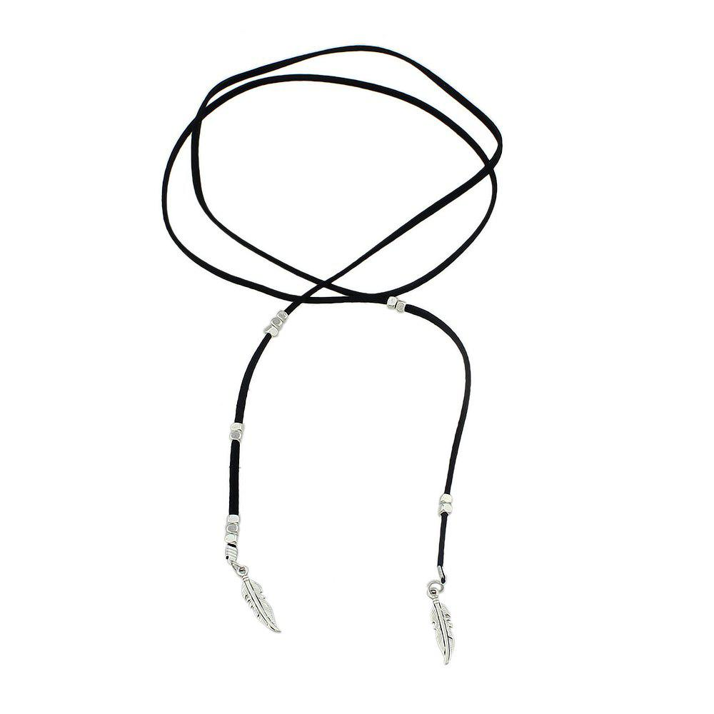 Shops Black Rope Feather Shape with Choker Necklace
